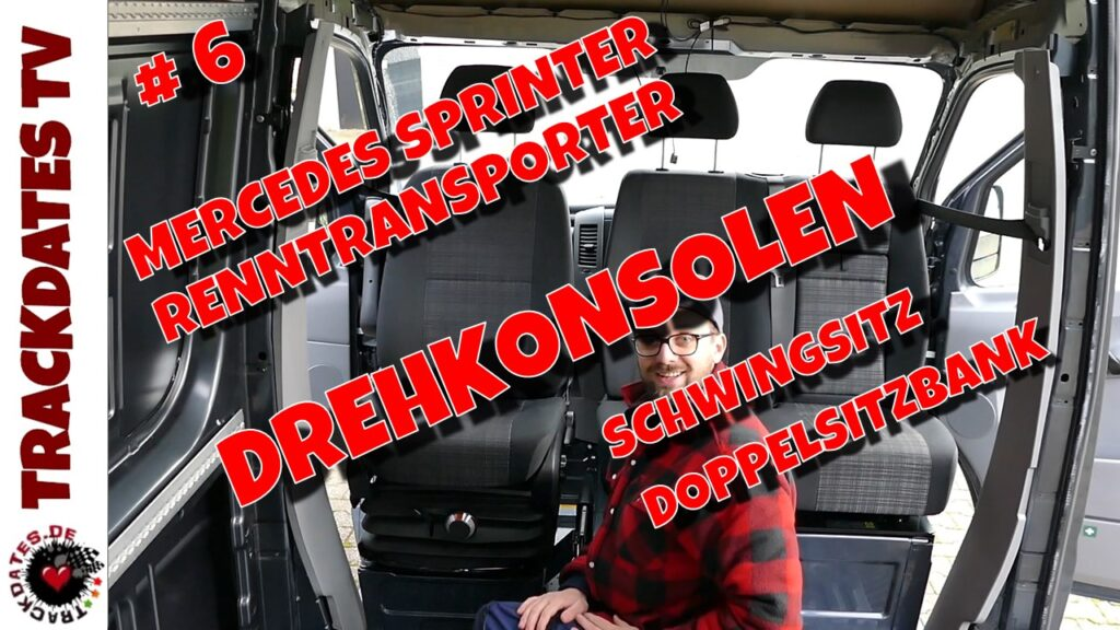 Camper Van Selbstausbau Drehkonsolen Schwingsitz Doppelsitzbank